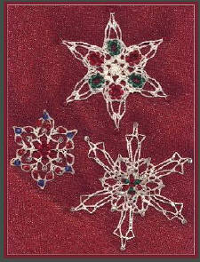 Crochet beaded snowflakes designed by delsie rhoades