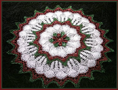 Crochet Beaded Christmas Flower Doily Designed by Delsie Rhoades