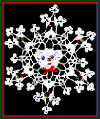 Crochet Teddy Bear Beaded Snowflake Designed by Delsie Rhoades