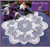 Pretty Doilies includes Kitty Talk Doily Designed by Delsie Rhoades