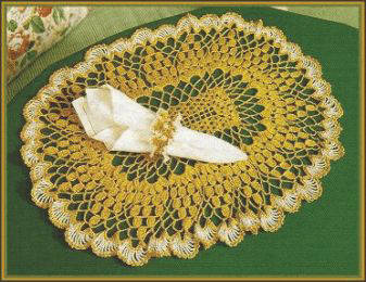Crochet Oval Place Mat & Jeweled Napkin Ring Designed by Delsie Rhoades