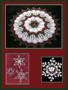 Beaded Crochet Christmas Doily & Snowflakes Designed by Delsie Rhoades